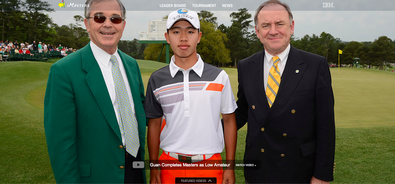 Guan Tianlang getting some love on the Masters.com homepage